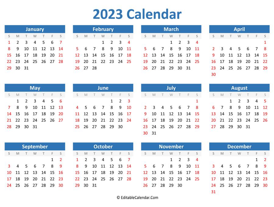 Printable 2023 Calendar (Landscape Orientation)