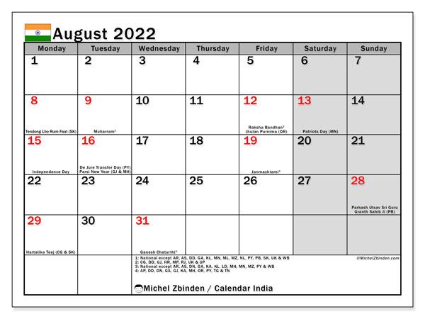 "Printable August 2022 ""India"" Calendar - Michel Zbinden En"