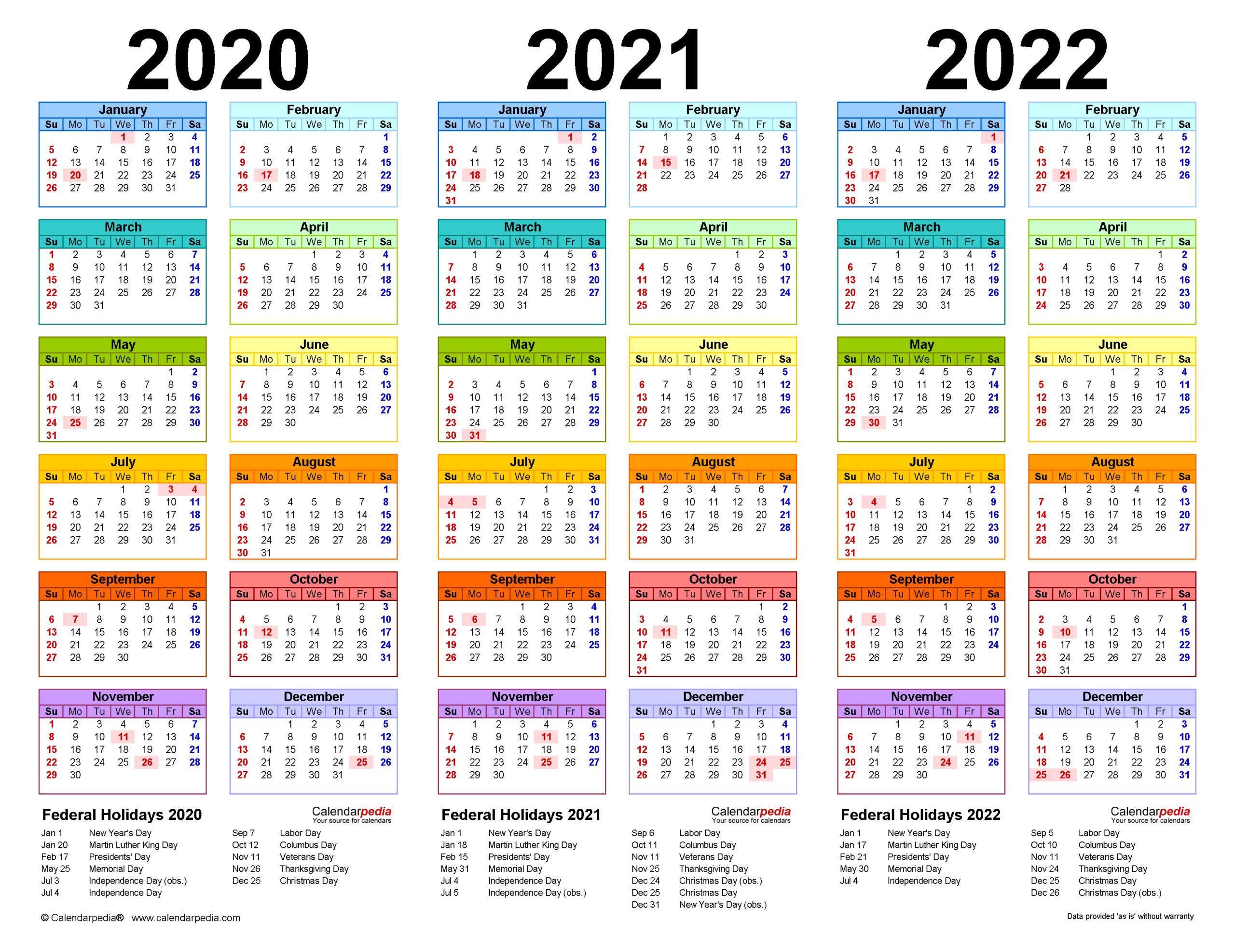 Printable Calendar 2020 And 2021 And 2022