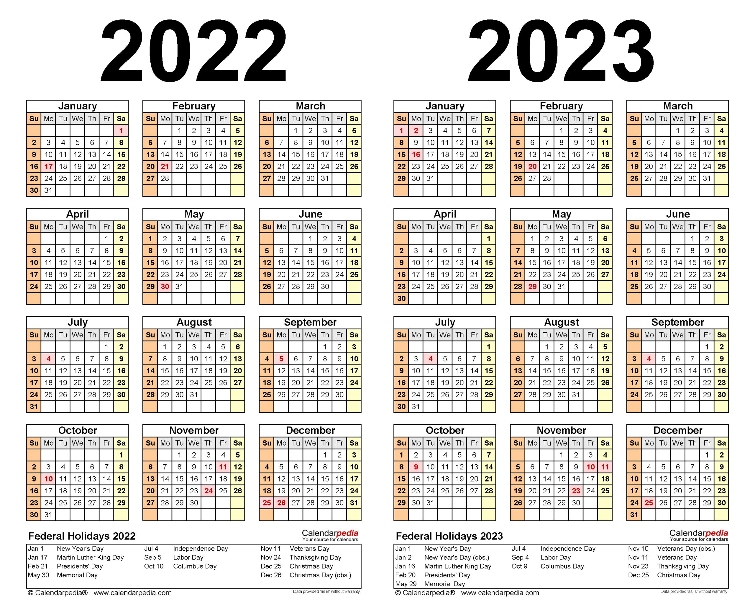 Printable Calendar 2022 Excel