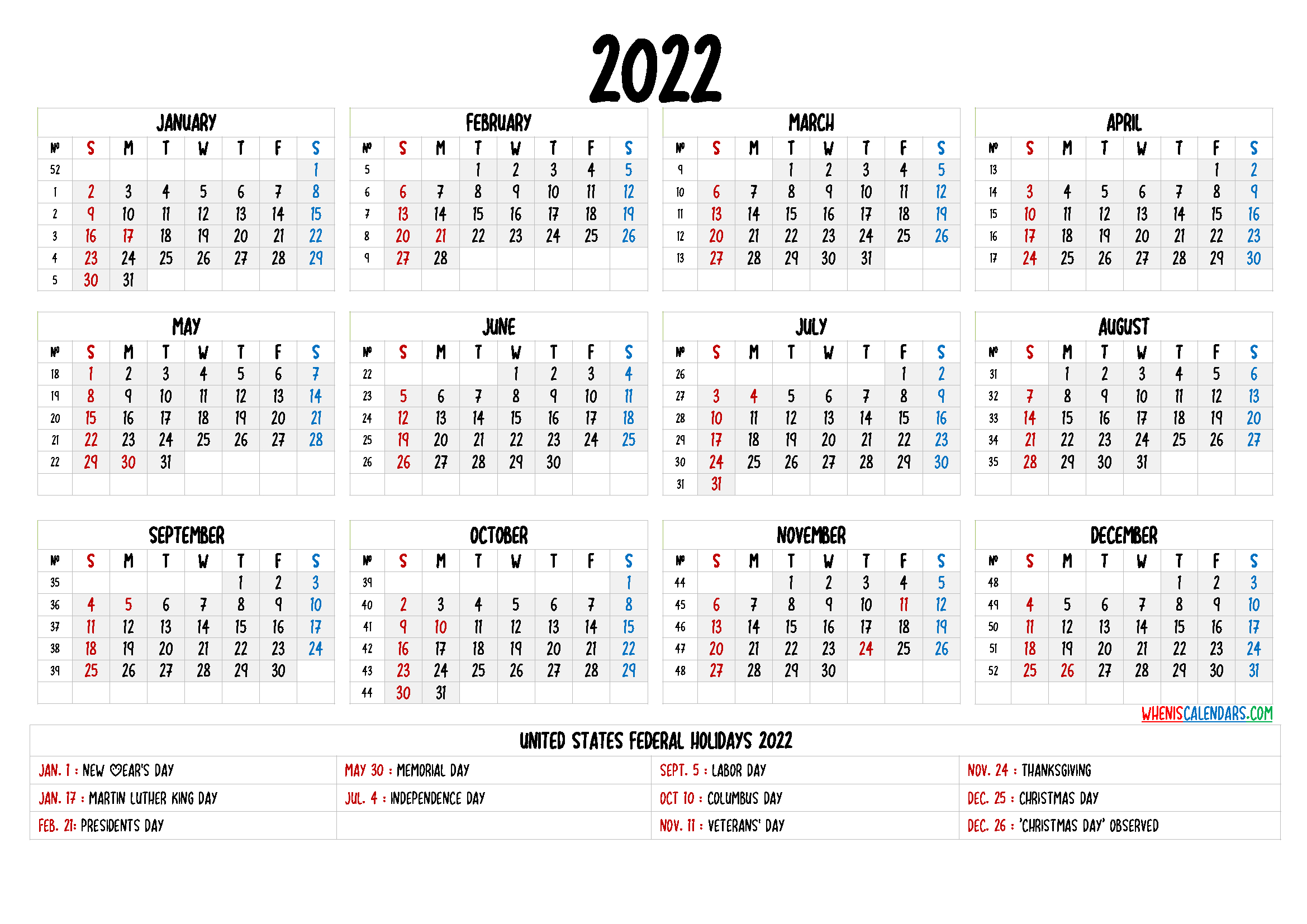 Printable Calendar 2022 Pdf - 9 Templates - Free Printable