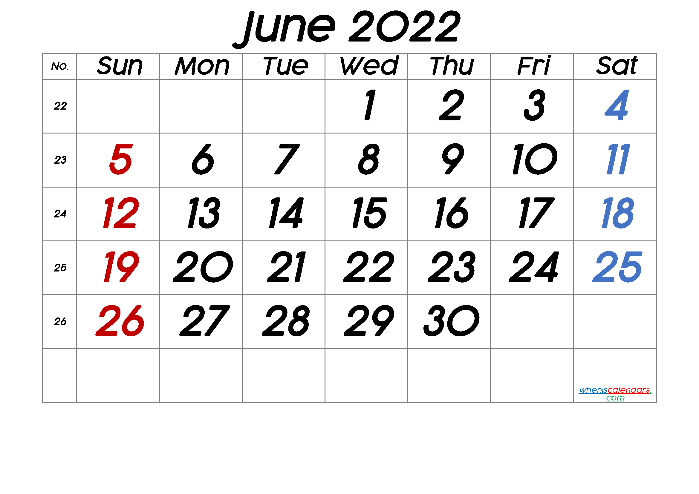 Printable Calendar June 2022 - 6 Templates In 2020
