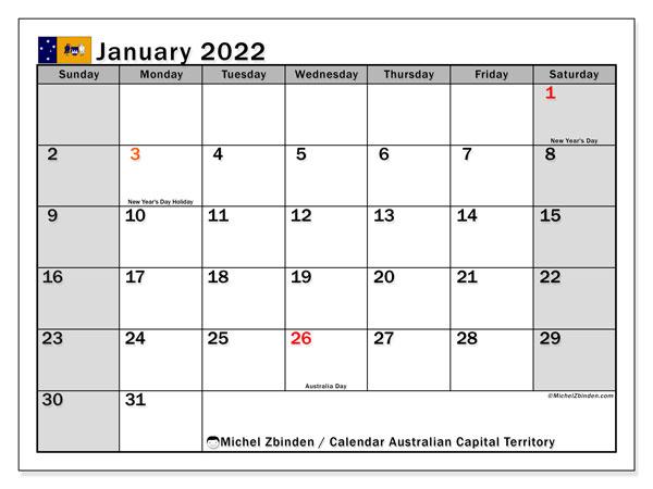 "Printable January 2022 ""Australian Capital Territory (Ss"
