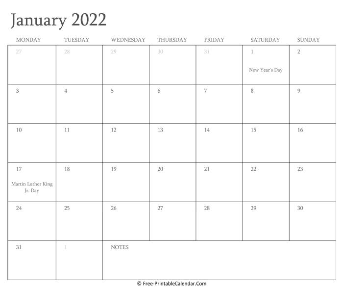Printable January Calendar 2022 With Holidays