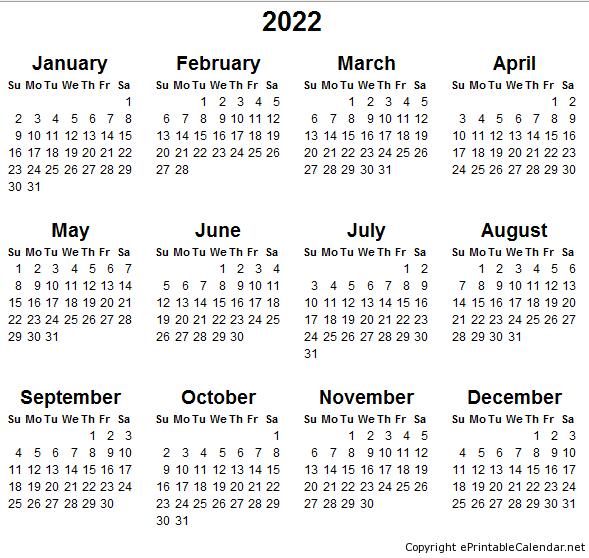 Printable Month Calendar