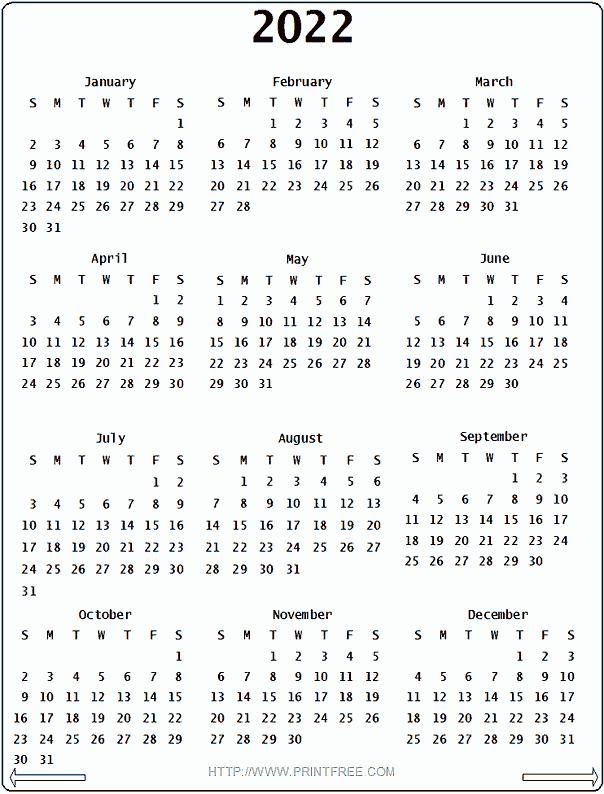 Printable Monthly Calendar 2022 Canada