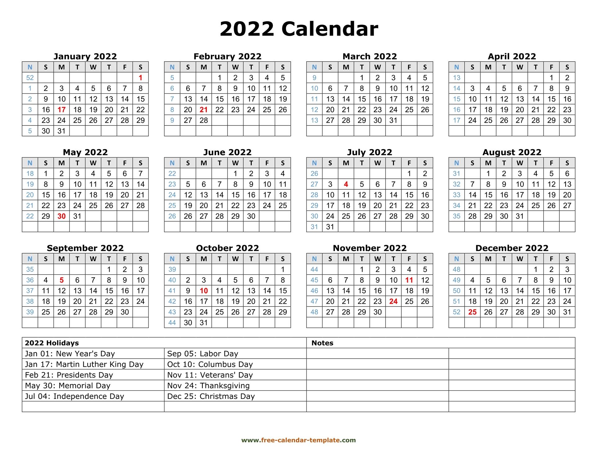 Printable Yearly Calendar 2022