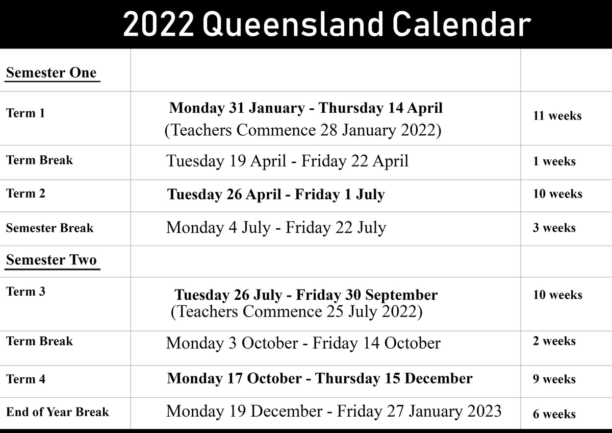 Qld School Holidays Calendar 2022 - 2023