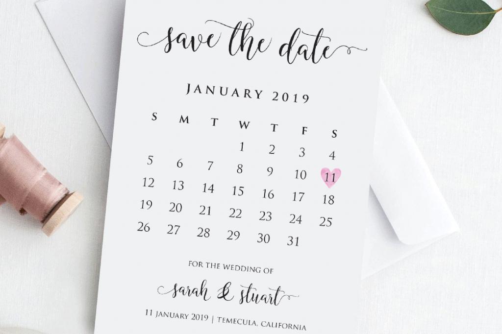 Save The Date Calendar - Calendar Template 2020