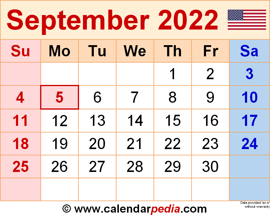 September 2022 - Calendar Templates For Word, Excel And Pdf