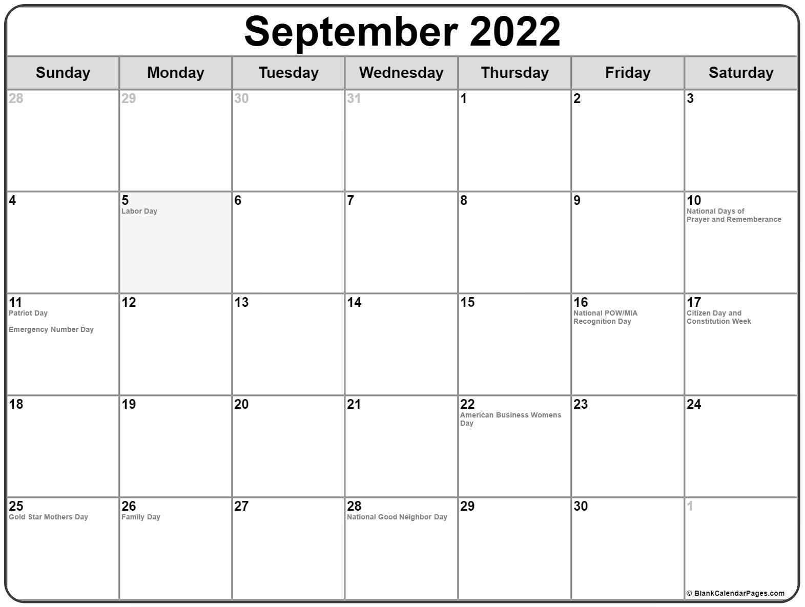September 2022 With Holidays Calendar