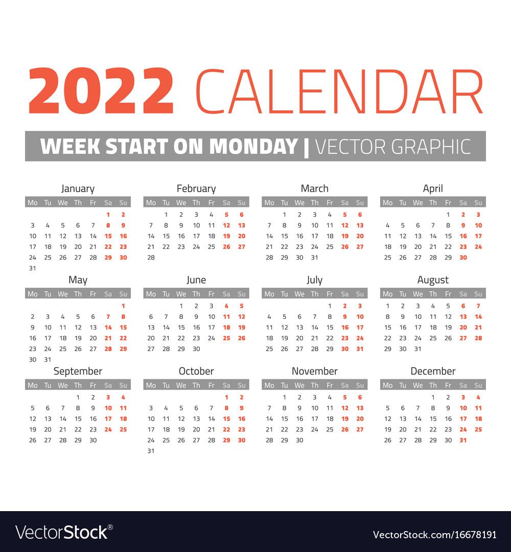 Simple 2022 Year Calendar Royalty Free Vector Image