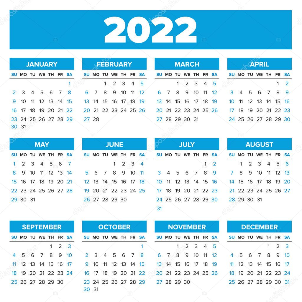 Simple 2022 Year Calendar — Stock Vector © 123Sasha #130331634