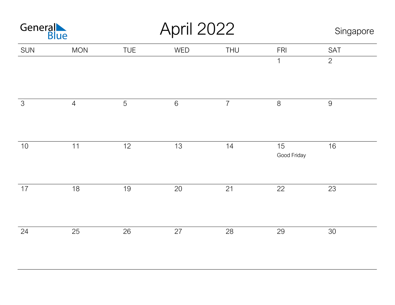 Singapore April 2022 Calendar With Holidays