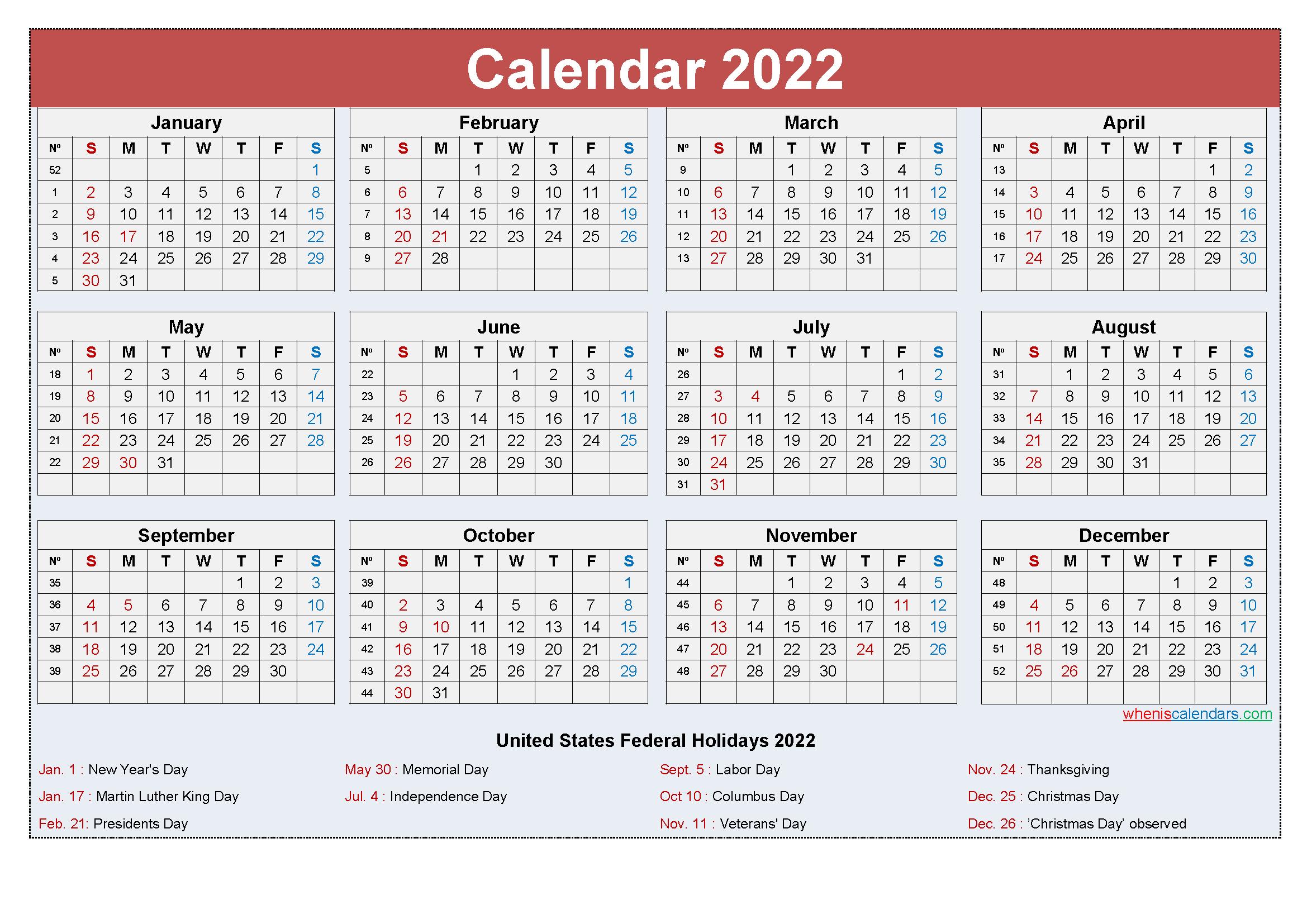 Small Desk Calendar 2022 With Holidays