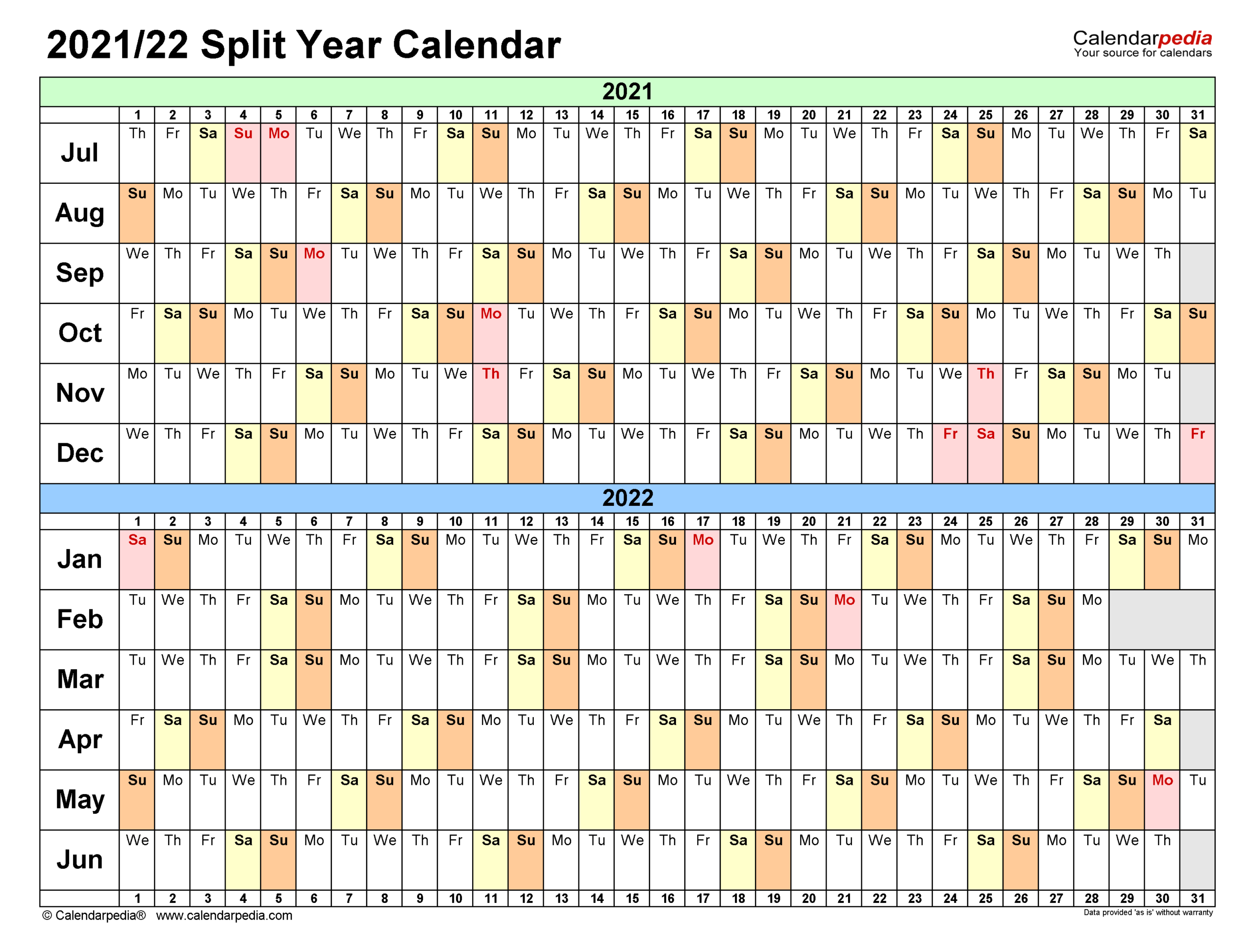 Split Year Calendars 2021/2022 (July To June) - Excel