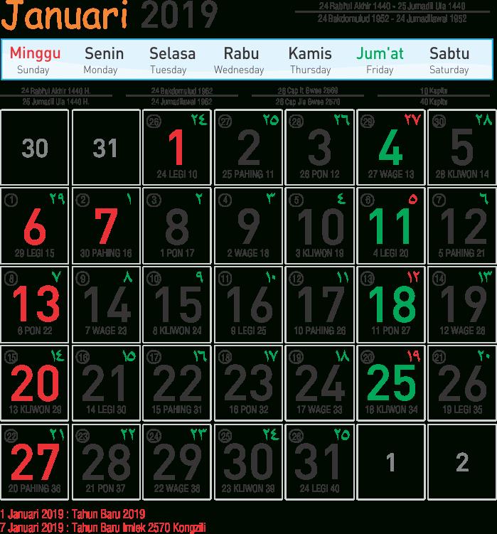 Template Kalender 2019 01 - Toko Fadhil Template