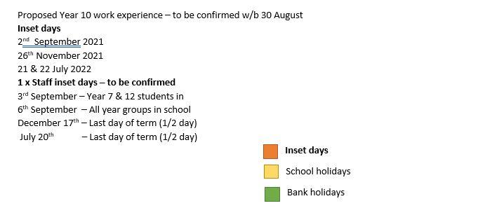 Term Dates 2021/2022 - St Edwards School