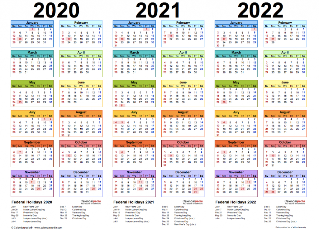 Three Year Calendar 2020/ 2021/ 2022 (Free Printable