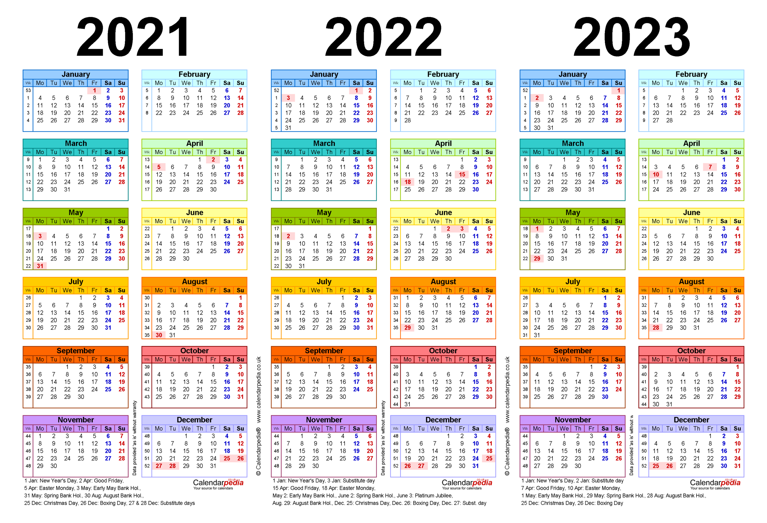 Three Year Calendars For 2021, 2022 & 2023 (Uk) For Pdf