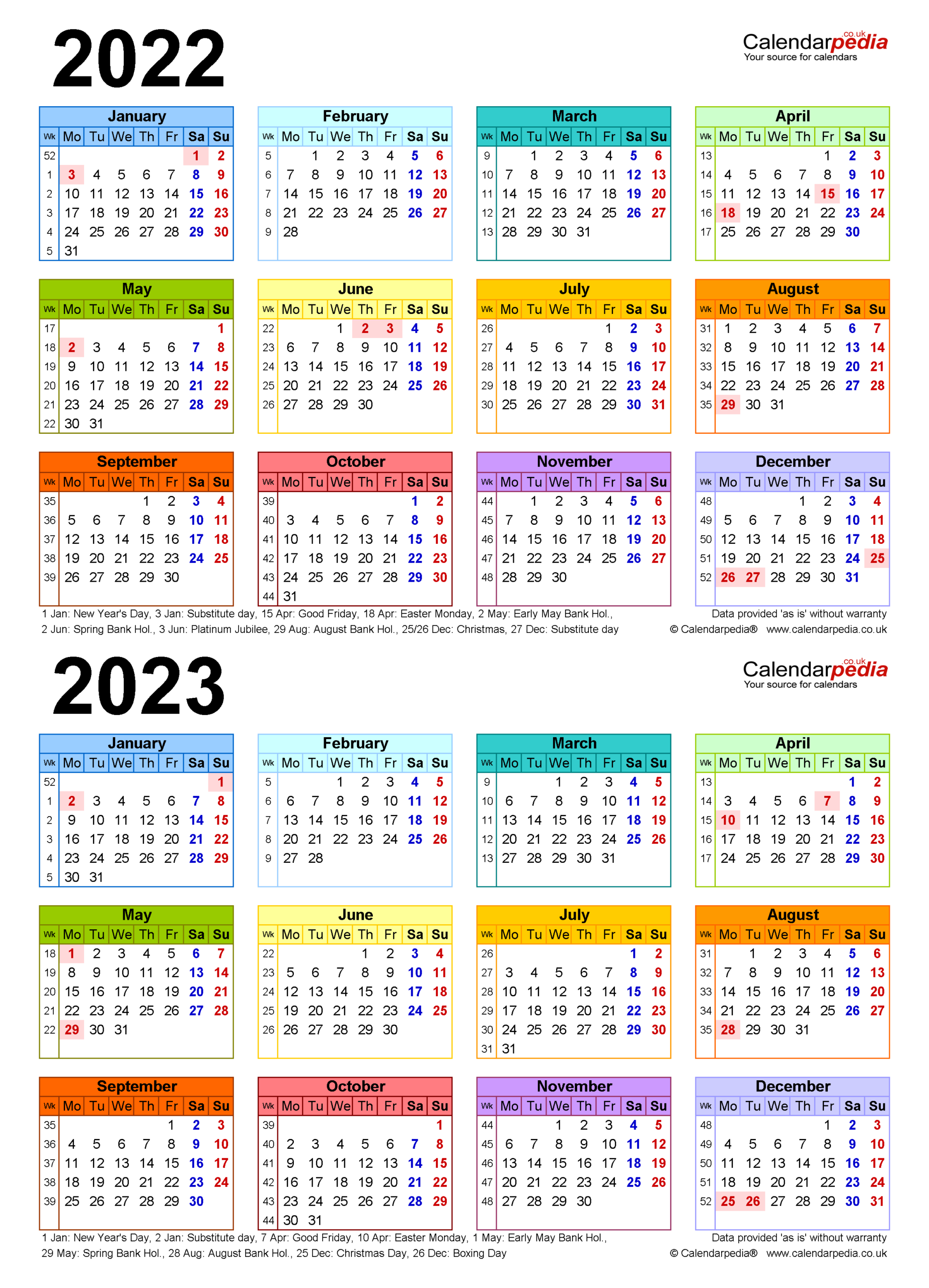 Two Year Calendars For 2022 & 2023 (Uk) For Word
