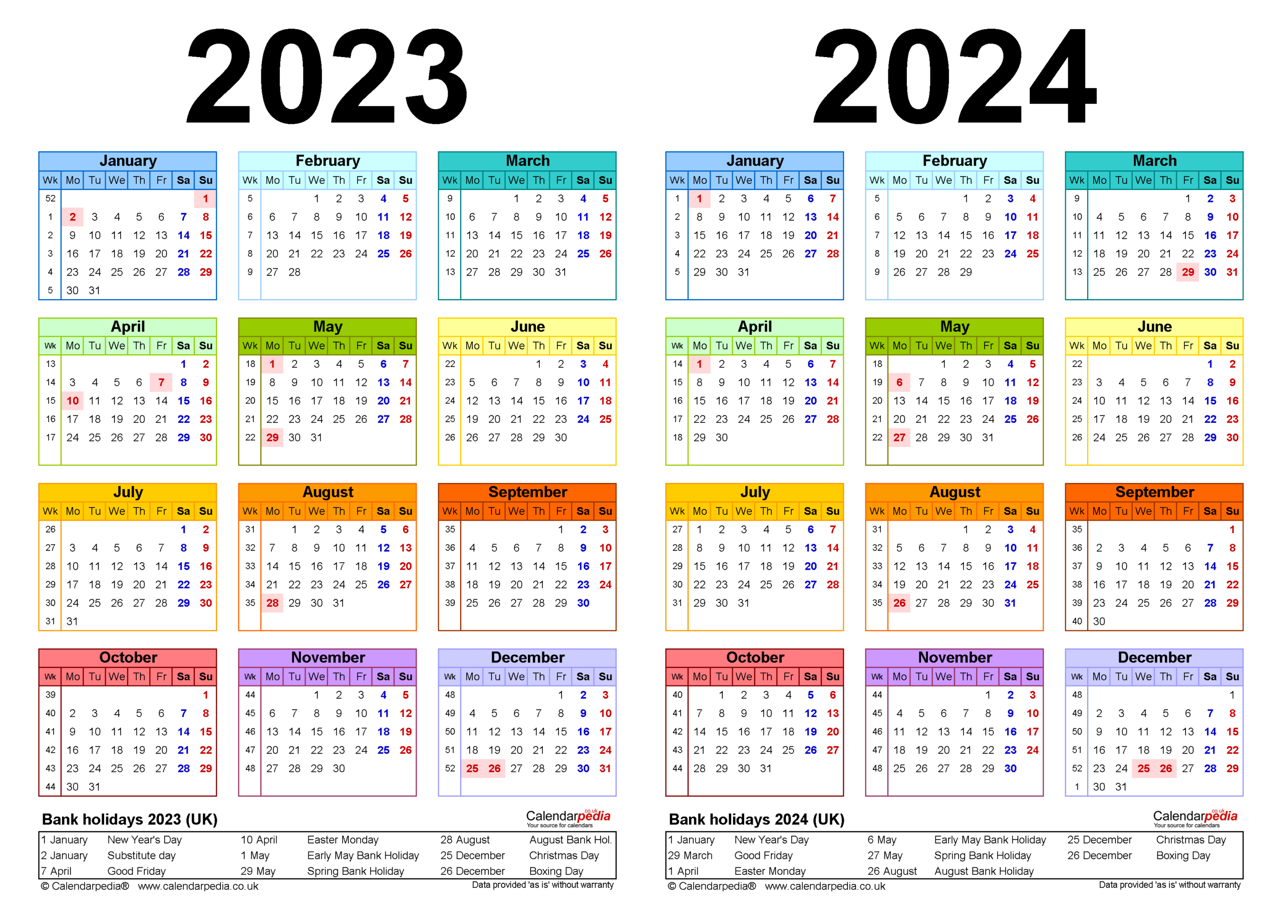 Two Year Calendars For 2023 & 2024 (Uk) For Pdf