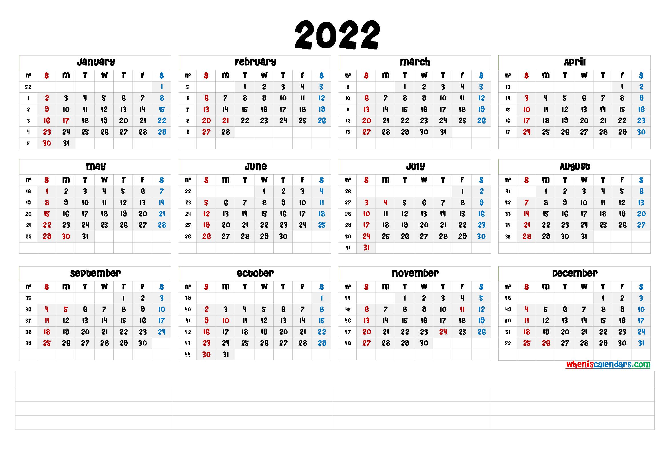 Wall Calendar Template 2022