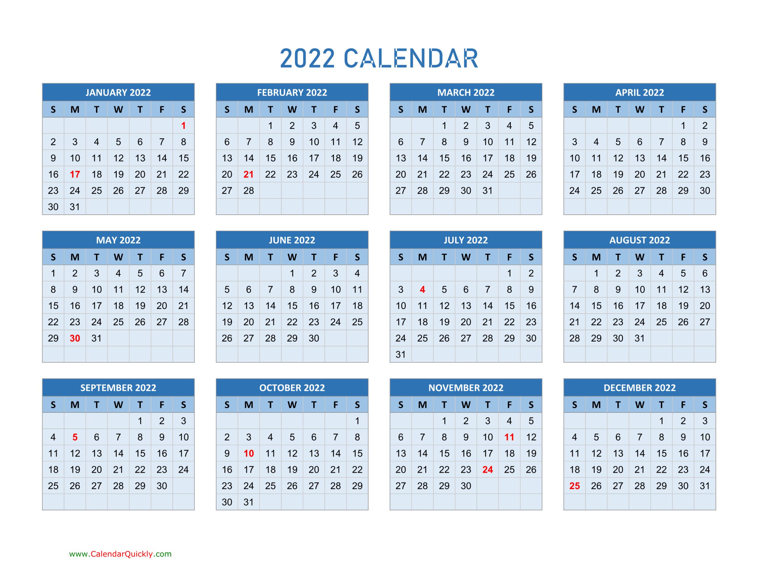 Year 2022 Calendars