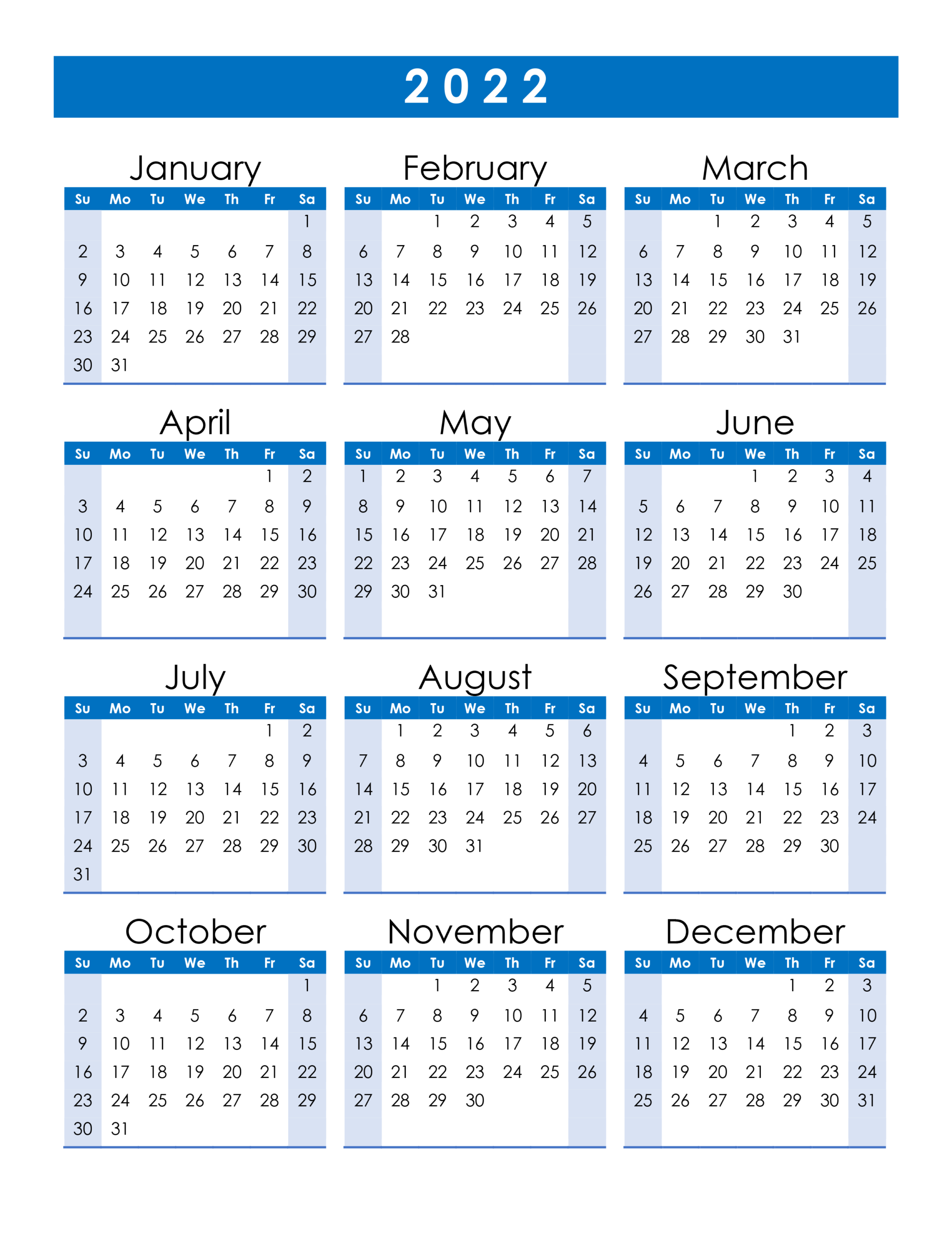 Yearly 2022 Printable Calendar