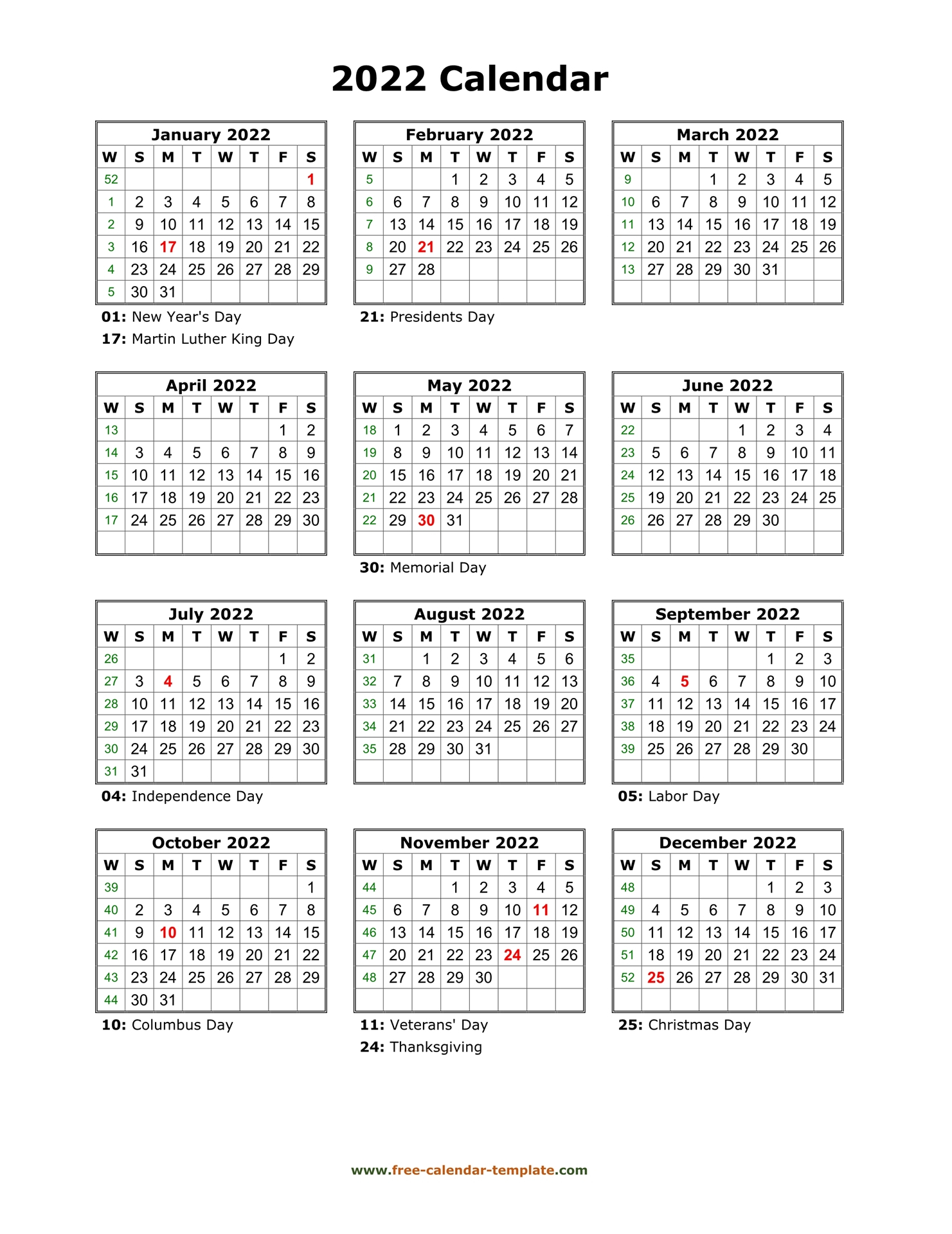 Yearly Printable Calendar 2022 With Holidays